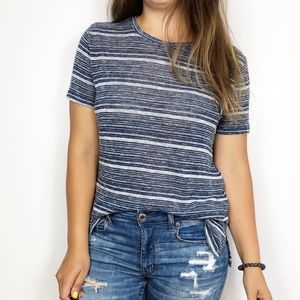 LOU & GREY | Blue Striped Short Sleeved Knit Top